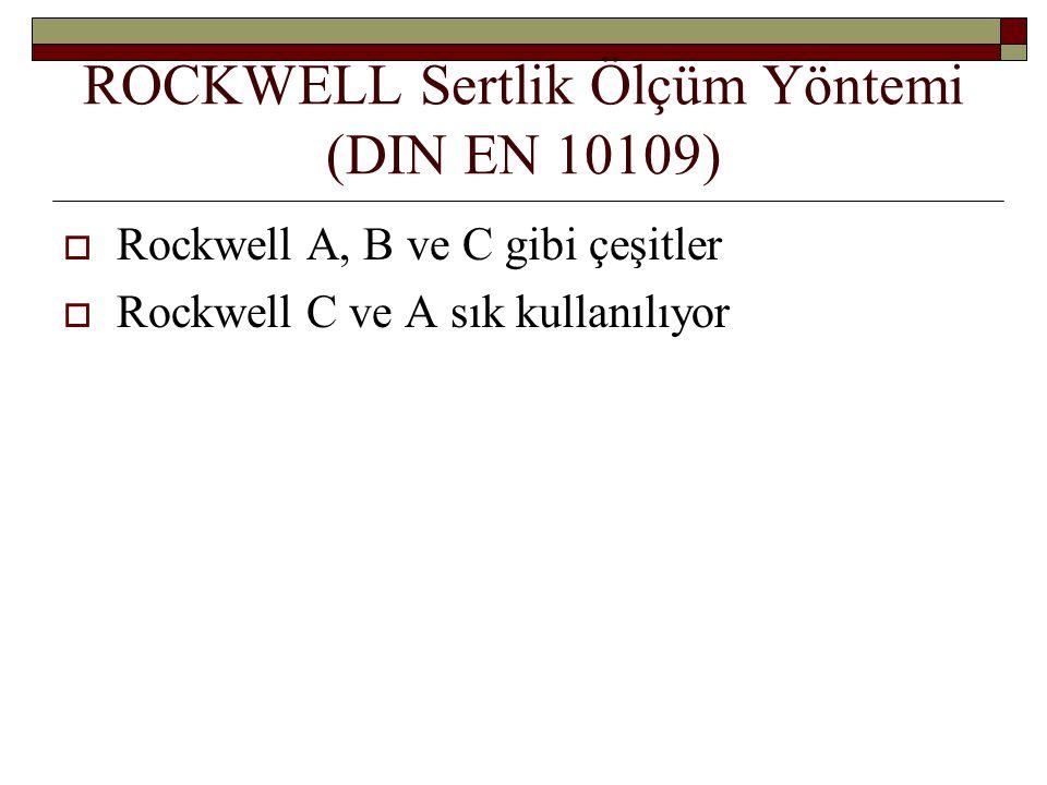 ROCKWELL Sertlik Ölçüm Yöntemi (DIN EN 10109)  Rockwell A, B ve C gibi çeşitler  Rockwell C ve A sık kullanılıyor