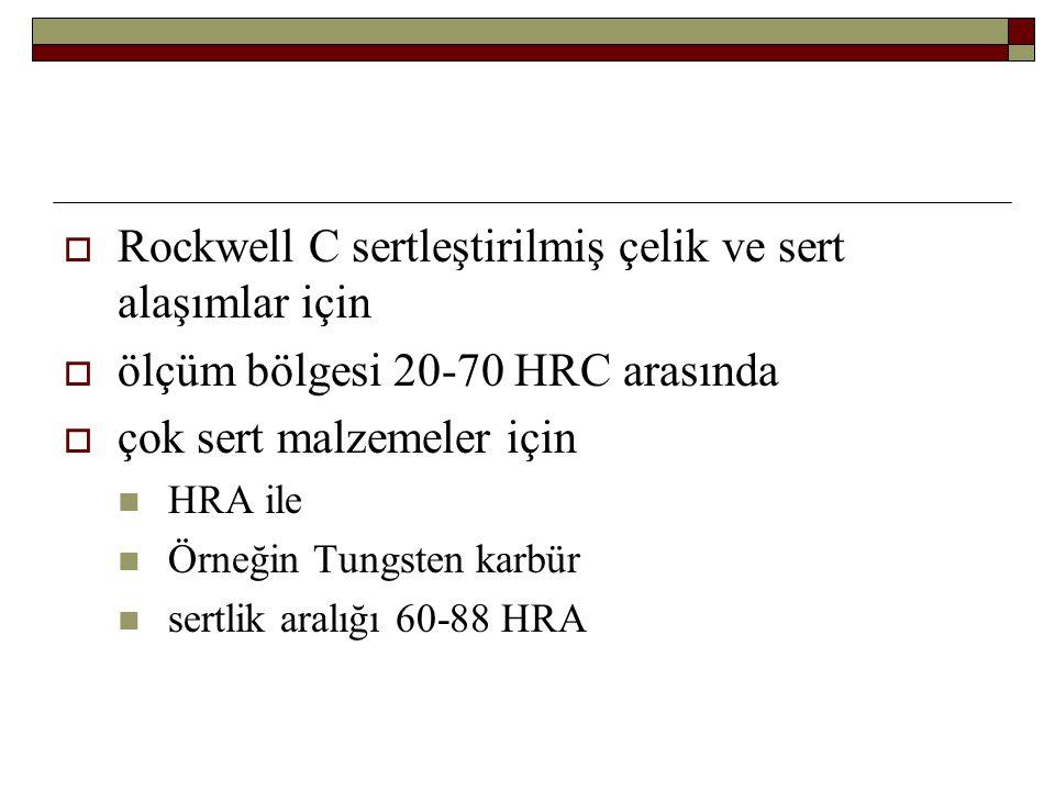  Rockwell C sertleştirilmiş çelik ve sert alaşımlar için  ölçüm bölgesi 20-70 HRC arasında  çok sert malzemeler için HRA ile Örneğin Tungsten karbü