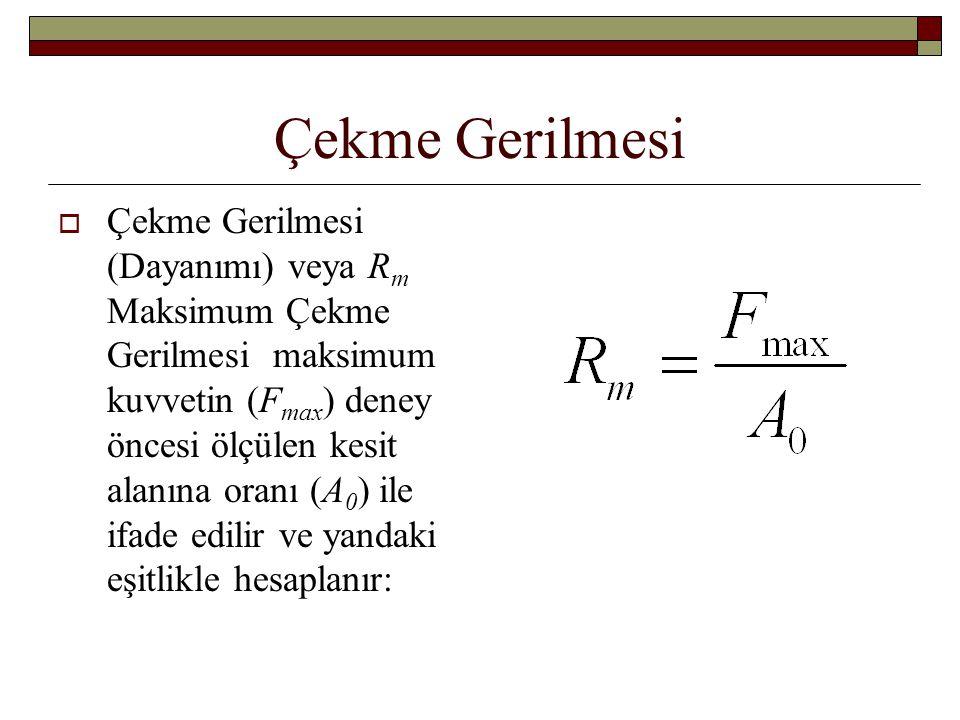 Çekme Gerilmesi  Çekme Gerilmesi (Dayanımı) veya R m Maksimum Çekme Gerilmesi maksimum kuvvetin (F max ) deney öncesi ölçülen kesit alanına oranı (A