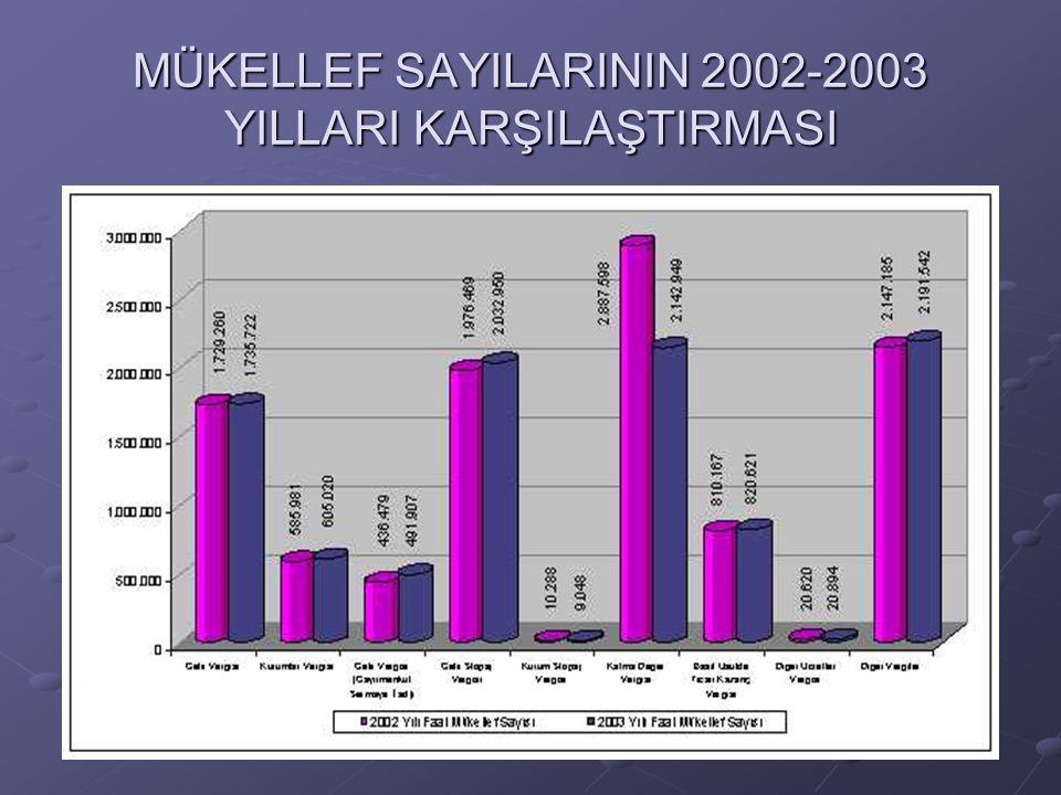 MÜKELLEF SAYILARININ 2002-2003 YILLARI KARŞILAŞTIRMASI