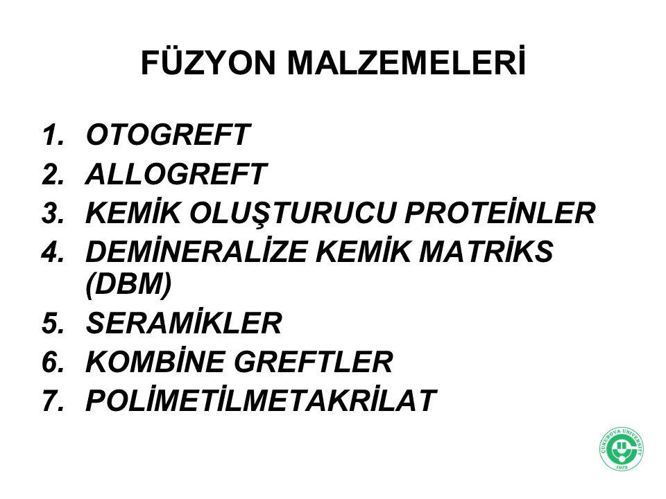 FÜZYON MALZEMELERİ 1.OTOGREFT 2.ALLOGREFT 3.KEMİK OLUŞTURUCU PROTEİNLER 4.DEMİNERALİZE KEMİK MATRİKS (DBM) 5.SERAMİKLER 6.KOMBİNE GREFTLER 7.POLİMETİL