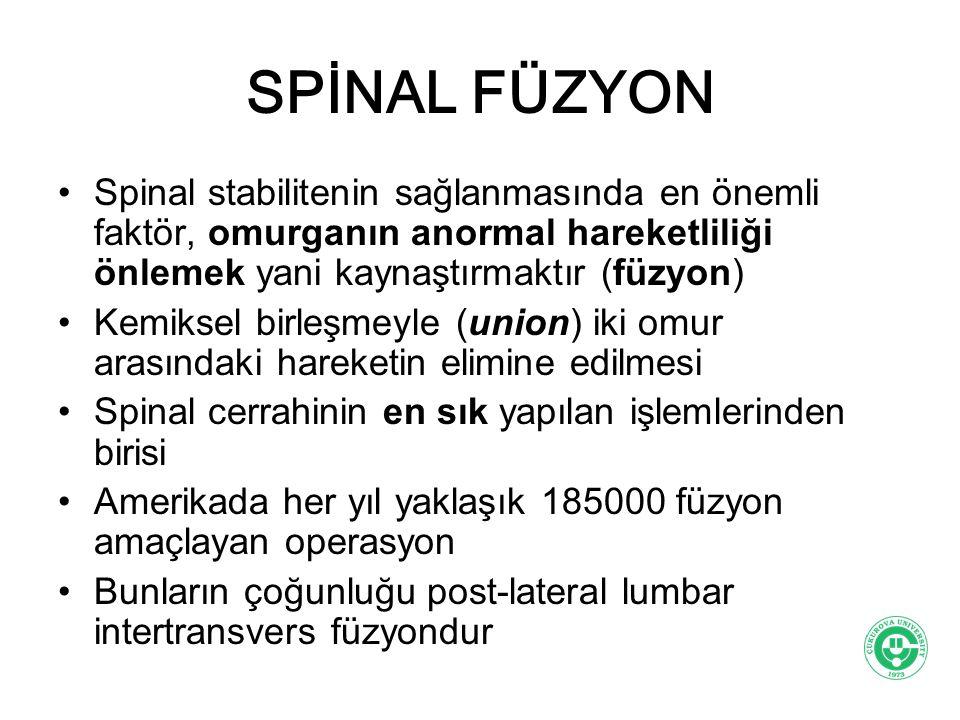 SPİNAL FÜZYON Spinal stabilitenin sağlanmasında en önemli faktör, omurganın anormal hareketliliği önlemek yani kaynaştırmaktır (füzyon) Kemiksel birle