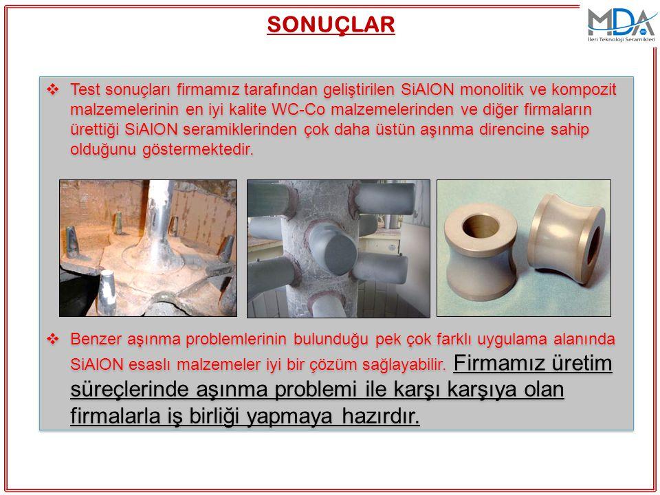  Test sonuçları firmamız tarafından geliştirilen SiAlON monolitik ve kompozit malzemelerinin en iyi kalite WC-Co malzemelerinden ve diğer firmaların