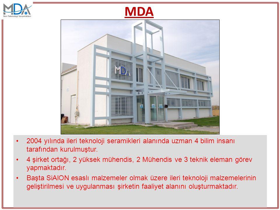 MDA 2004 yılında ileri teknoloji seramikleri alanında uzman 4 bilim insanı tarafından kurulmuştur. 4 şirket ortağı, 2 yüksek mühendis, 2 Mühendis ve 3