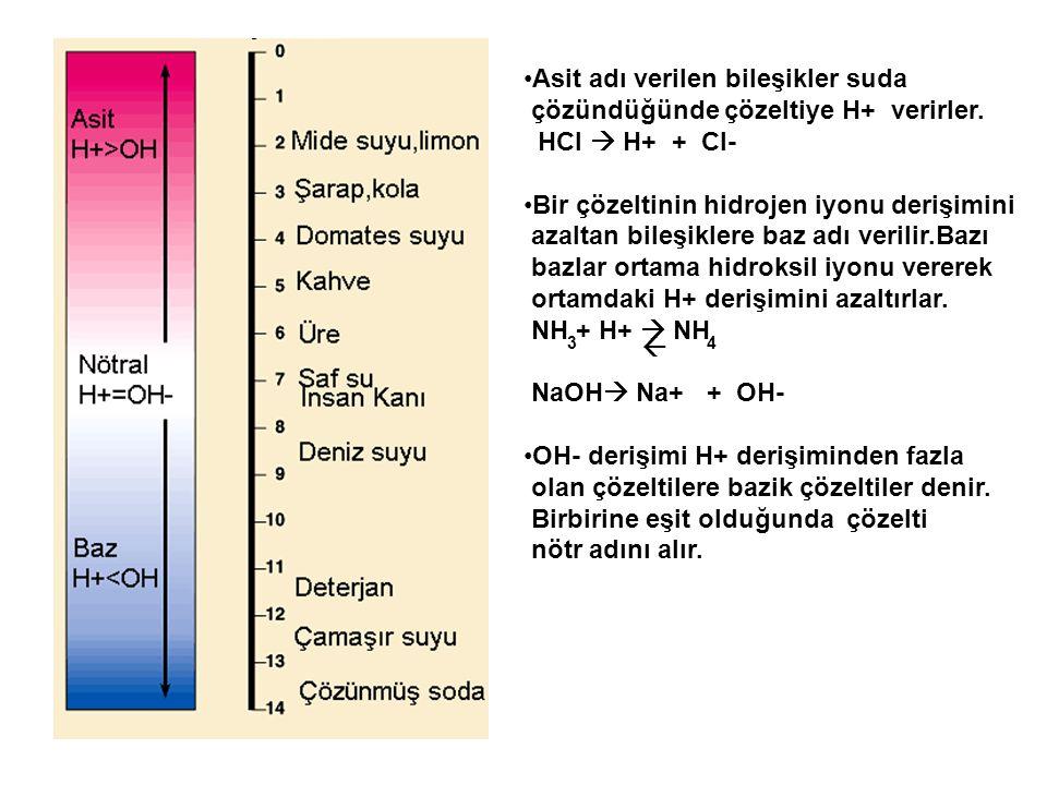 Asit adı verilen bileşikler suda çözündüğünde çözeltiye H+ verirler. HCl  H+ + Cl- Bir çözeltinin hidrojen iyonu derişimini azaltan bileşiklere baz a
