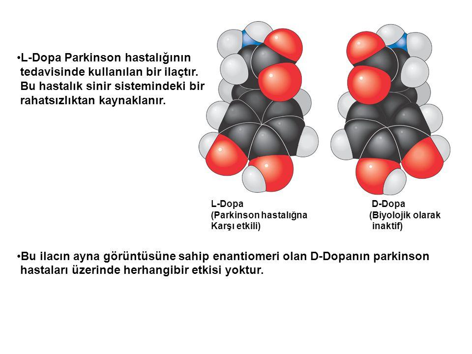 L-Dopa D-Dopa (Parkinson hastalığna (Biyolojik olarak Karşı etkili) inaktif) L-Dopa Parkinson hastalığının tedavisinde kullanılan bir ilaçtır. Bu hast