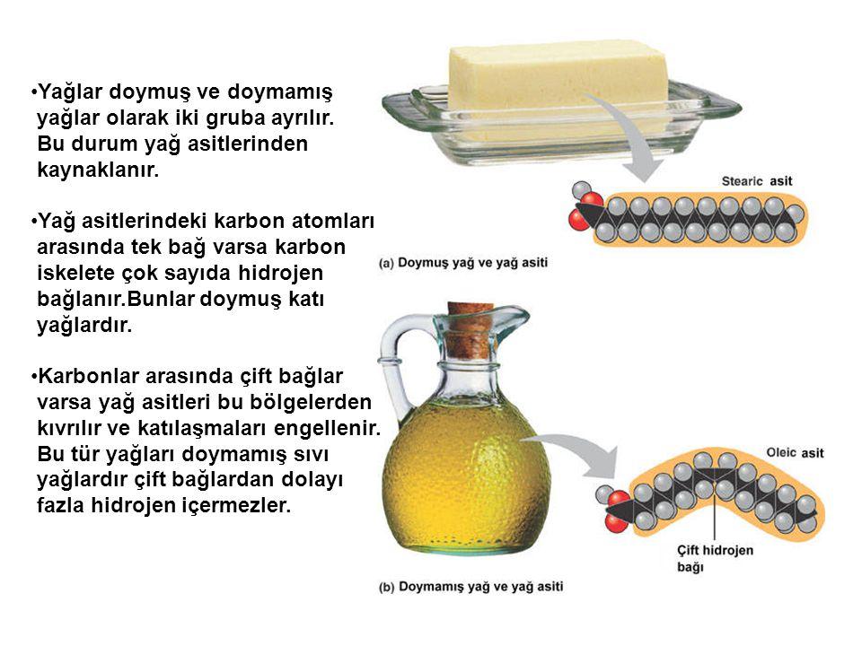 Yağlar doymuş ve doymamış yağlar olarak iki gruba ayrılır. Bu durum yağ asitlerinden kaynaklanır. Yağ asitlerindeki karbon atomları arasında tek bağ v