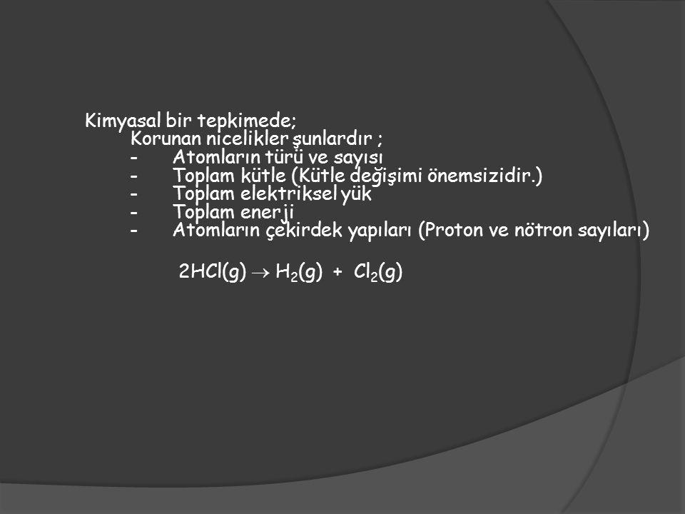 KİMYASAL TEPKİMELERİN SINIFLANDIRILMASI 1.