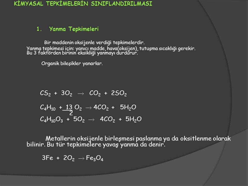 KİMYASAL TEPKİMELERİN SINIFLANDIRILMASI 1. Yanma Tepkimeleri Bir maddenin oksijenle verdiği tepkimelerdir. Yanma tepkimesi için: yanıcı madde, hava(ok
