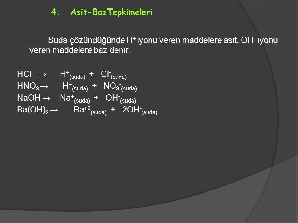 4. Asit-BazTepkimeleri Suda çözündüğünde H + iyonu veren maddelere asit, OH - iyonu veren maddelere baz denir. HCl → H + (suda) + Cl - (suda) HNO 3 →