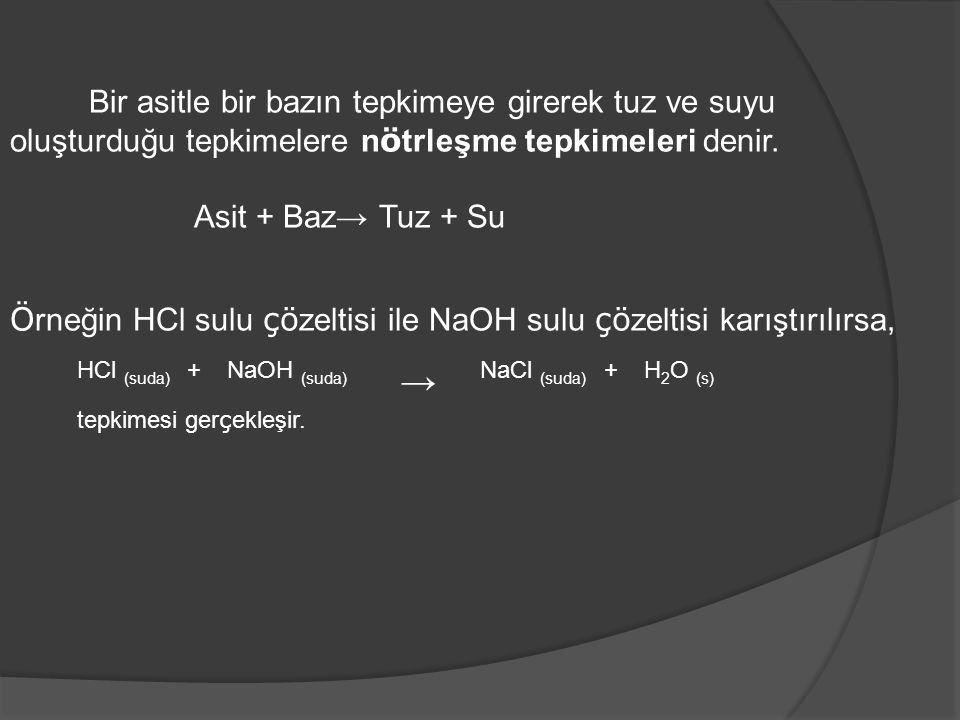 Bir asitle bir bazın tepkimeye girerek tuz ve suyu oluşturduğu tepkimelere n ö trleşme tepkimeleri denir. Asit + Baz→ Tuz + Su Ö rneğin HCl sulu çö ze