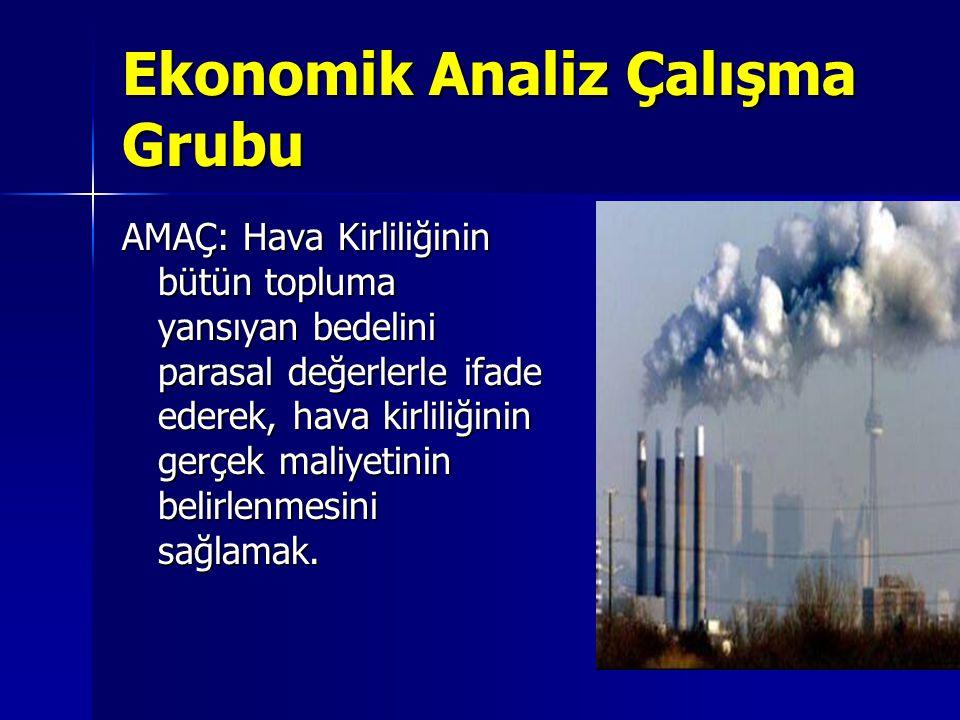 Ekonomik Analiz Çalışma Grubu AMAÇ: Hava Kirliliğinin bütün topluma yansıyan bedelini parasal değerlerle ifade ederek, hava kirliliğinin gerçek maliyetinin belirlenmesini sağlamak.