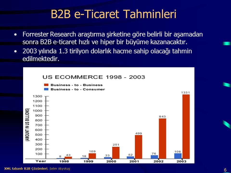 7 XML tabanlı B2B Çözümleri, Selim Akyokuş XML tabanlı B2B Çözümleri, Selim Akyokuş B2B e-iş Çözüm Modelleri B2B'de üç değişik çözüm modeli genel olarak ortaya çıkmıştır : –Alış merkezli (buy-side) çözüm modeli –Satış merkezli (sell-side) çözüm Modeli –Elektronik pazar (e-pazar, e-marketplace) çözüm modeli