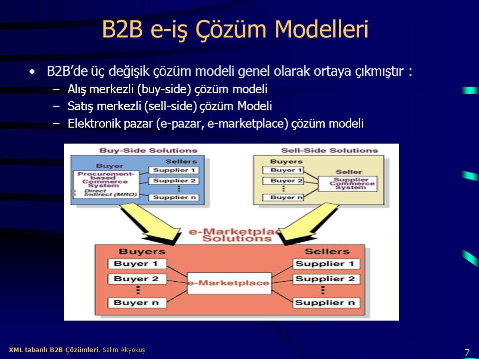 8 XML tabanlı B2B Çözümleri, Selim Akyokuş XML tabanlı B2B Çözümleri, Selim Akyokuş Alış merkezli (buy-side) çözüm modeli Alış merkezli çözüm modelinde amaç şirketin alış işlemlerindeki verimliği artırmaktır.