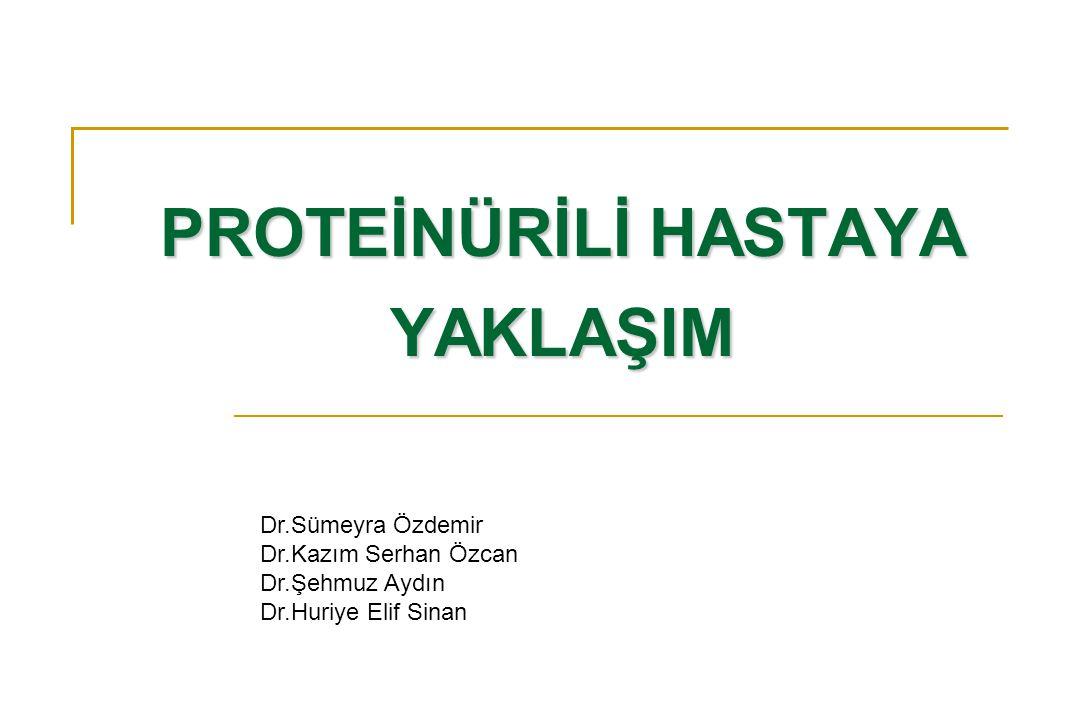 Proteinüriyi saptama yöntemleri Dipstick Sülfosalisilik asit 24 saatlik idrar örneğinde total protein Spot idrar örneğinde protein/kreatinin oranı SEMİ-KANTİTATİF YÖNTEMLER KANTİTATİF YÖNTEMLER