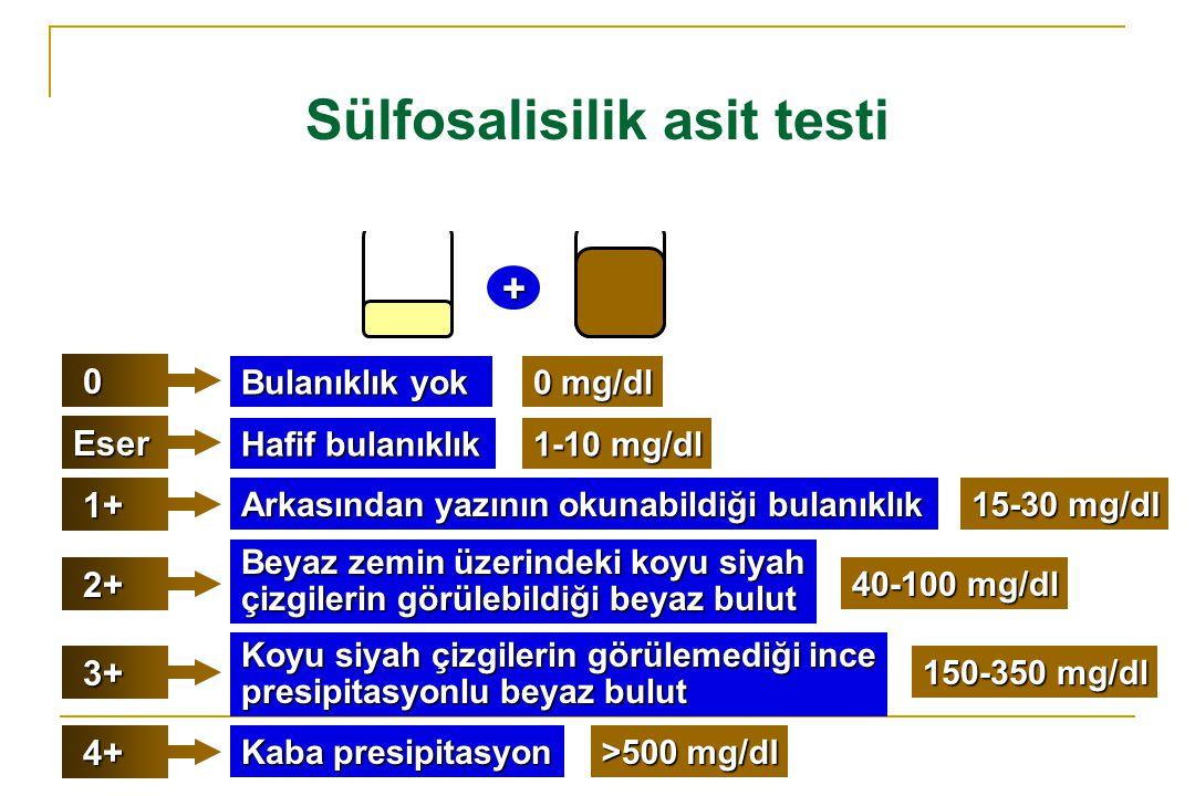 Sülfosalisilik asit testi + 0 Bulanıklık yok Eser 1+ 1+ 2+ 2+ 3+ 3+ 4+ 4+ Hafif bulanıklık Arkasından yazının okunabildiği bulanıklık 0 mg/dl 1-10 mg/