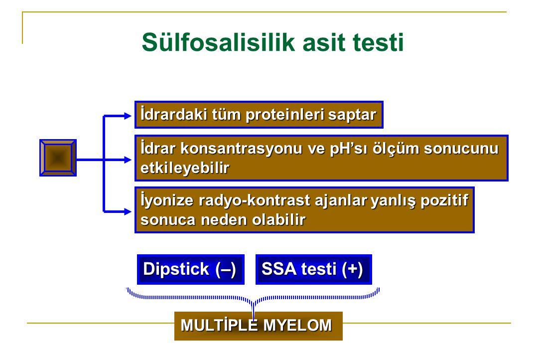 Sülfosalisilik asit testi İdrardaki tüm proteinleri saptar İdrar konsantrasyonu ve pH'sı ölçüm sonucunu etkileyebilir İyonize radyo-kontrast ajanlar y