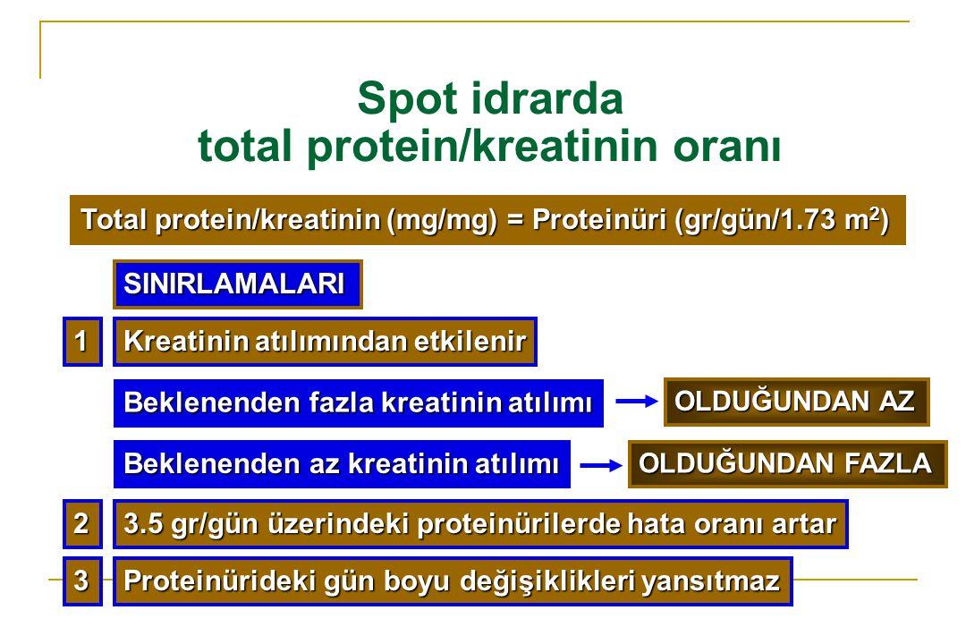 Spot idrarda total protein/kreatinin oranı Total protein/kreatinin (mg/mg) = Proteinüri (gr/gün/1.73 m 2 ) Kreatinin atılımından etkilenir Beklenenden