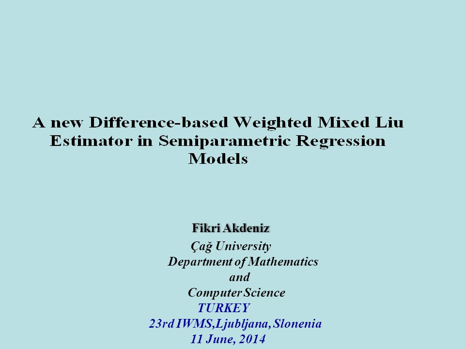 OUTLINE *The problem and objective of presentation *Semiparametric regression model *Difference-based method *Generalized difference-based estimator with correlated errors