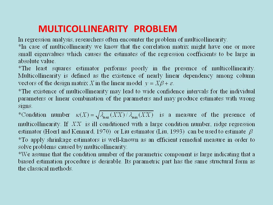 MULTICOLLINEARITY PROBLEM