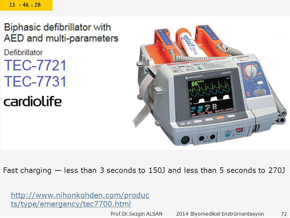 Prof.Dr.Sezgin ALSAN 2014 Biyomedikal Enstrümantasyon 72 http://www.nihonkohden.com/produc ts/type/emergency/tec7700.html Fast charging — less than 3