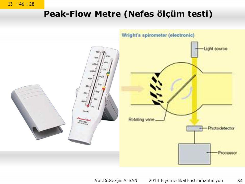 Prof.Dr.Sezgin ALSAN 2014 Biyomedikal Enstrümantasyon 84 Peak-Flow Metre (Nefes ölçüm testi)