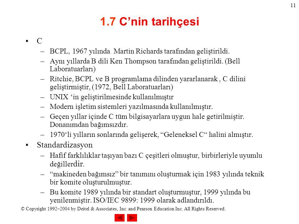 © Copyright 1992–2004 by Deitel & Associates, Inc. and Pearson Education Inc. All Rights Reserved. 11 1.7 C'nin tarihçesi C –BCPL, 1967 yılında Martin