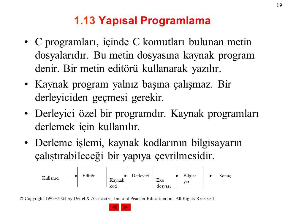 © Copyright 1992–2004 by Deitel & Associates, Inc. and Pearson Education Inc. All Rights Reserved. 19 1.13 Yapısal Programlama C programları, içinde C