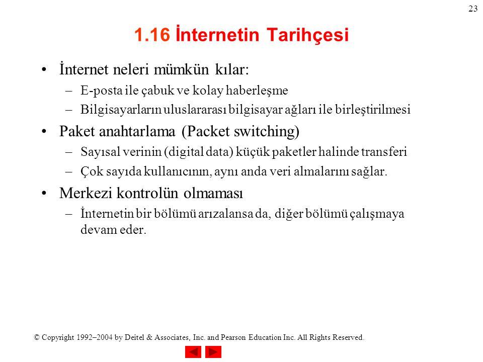 © Copyright 1992–2004 by Deitel & Associates, Inc. and Pearson Education Inc. All Rights Reserved. 23 1.16 İnternetin Tarihçesi İnternet neleri mümkün