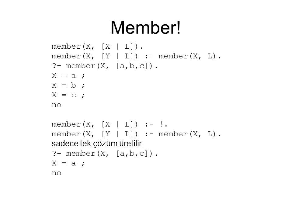 Member! member(X, [X | L]). member(X, [Y | L]) :- member(X, L). ?- member(X, [a,b,c]). X = a ; X = b ; X = c ; no member(X, [X | L]) :- !. member(X, [