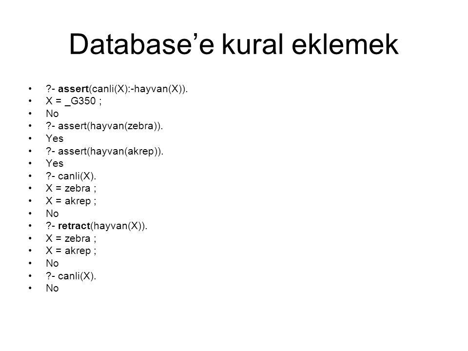 Database'e kural eklemek ?- assert(canli(X):-hayvan(X)). X = _G350 ; No ?- assert(hayvan(zebra)). Yes ?- assert(hayvan(akrep)). Yes ?- canli(X). X = z