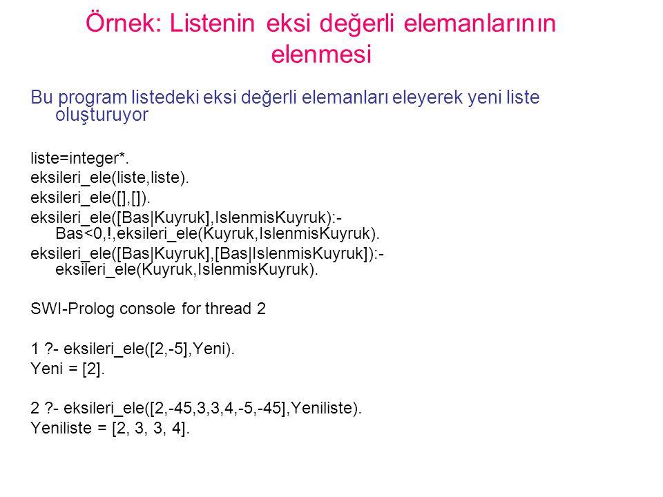 Örnek: Listenin eksi değerli elemanlarının elenmesi Bu program listedeki eksi değerli elemanları eleyerek yeni liste oluşturuyor liste=integer*. eksil