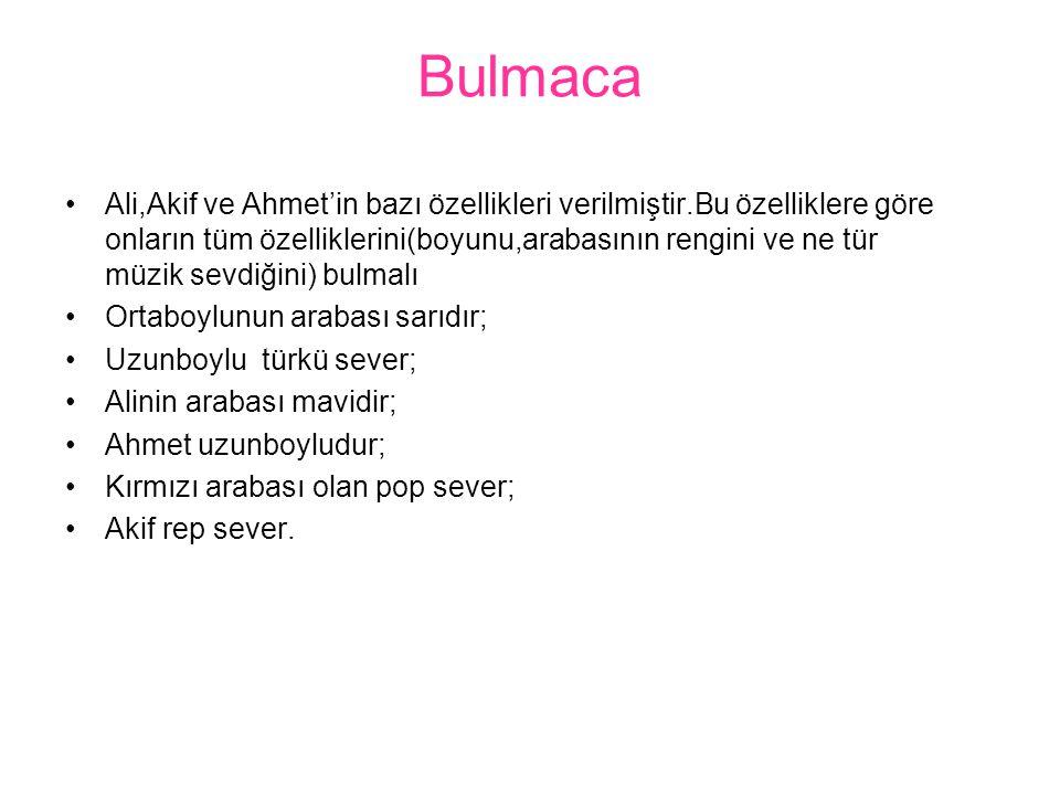 Bulmaca Ali,Akif ve Ahmet'in bazı özellikleri verilmiştir.Bu özelliklere göre onların tüm özelliklerini(boyunu,arabasının rengini ve ne tür müzik sevd