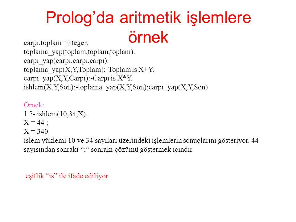 Prolog'da aritmetik işlemlere örnek carpı,toplam=integer. toplama_yap(toplam,toplam,toplam). carpı_yap(carpı,carpı,carpı). toplama_yap(X,Y,Toplam):-To