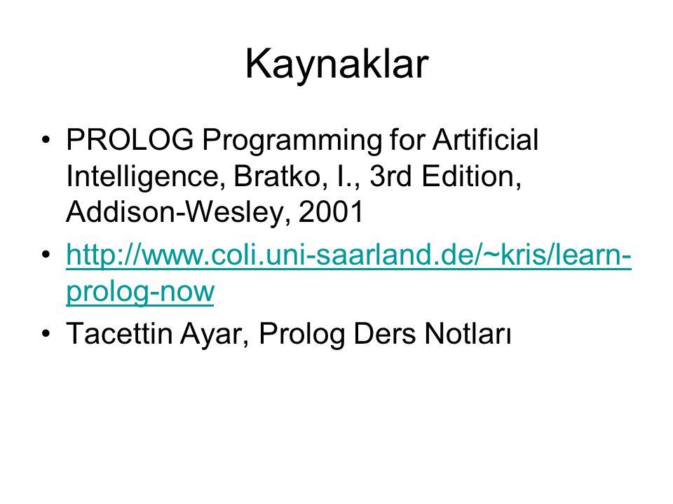 Kaynaklar PROLOG Programming for Artificial Intelligence, Bratko, I., 3rd Edition, Addison-Wesley, 2001 http://www.coli.uni-saarland.de/~kris/learn- p