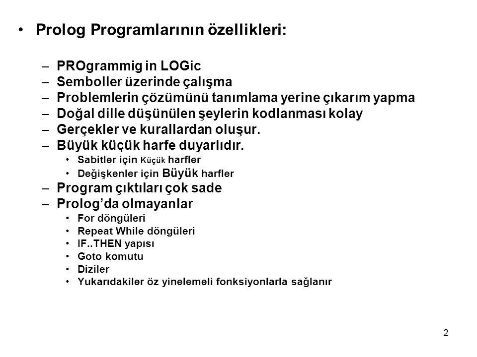 2 Prolog Programlarının özellikleri: –PROgrammig in LOGic –Semboller üzerinde çalışma –Problemlerin çözümünü tanımlama yerine çıkarım yapma –Doğal dil