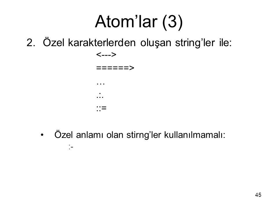 45 Atom'lar (3) 2.Özel karakterlerden oluşan string'ler ile: ======> ….:. ::= Özel anlamı olan stirng'ler kullanılmamalı: :-