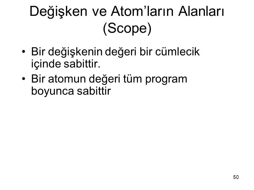 50 Değişken ve Atom'ların Alanları (Scope) Bir değişkenin değeri bir cümlecik içinde sabittir. Bir atomun değeri tüm program boyunca sabittir