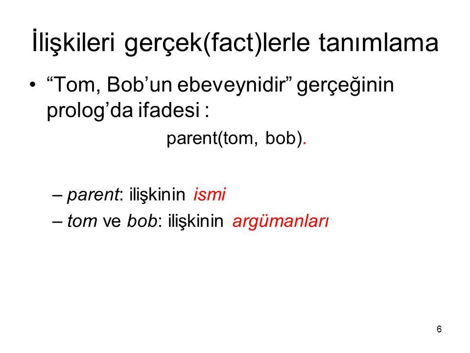 """6 İlişkileri gerçek(fact)lerle tanımlama """"Tom, Bob'un ebeveynidir"""" gerçeğinin prolog'da ifadesi : parent(tom, bob). –parent: ilişkinin ismi –tom ve bo"""