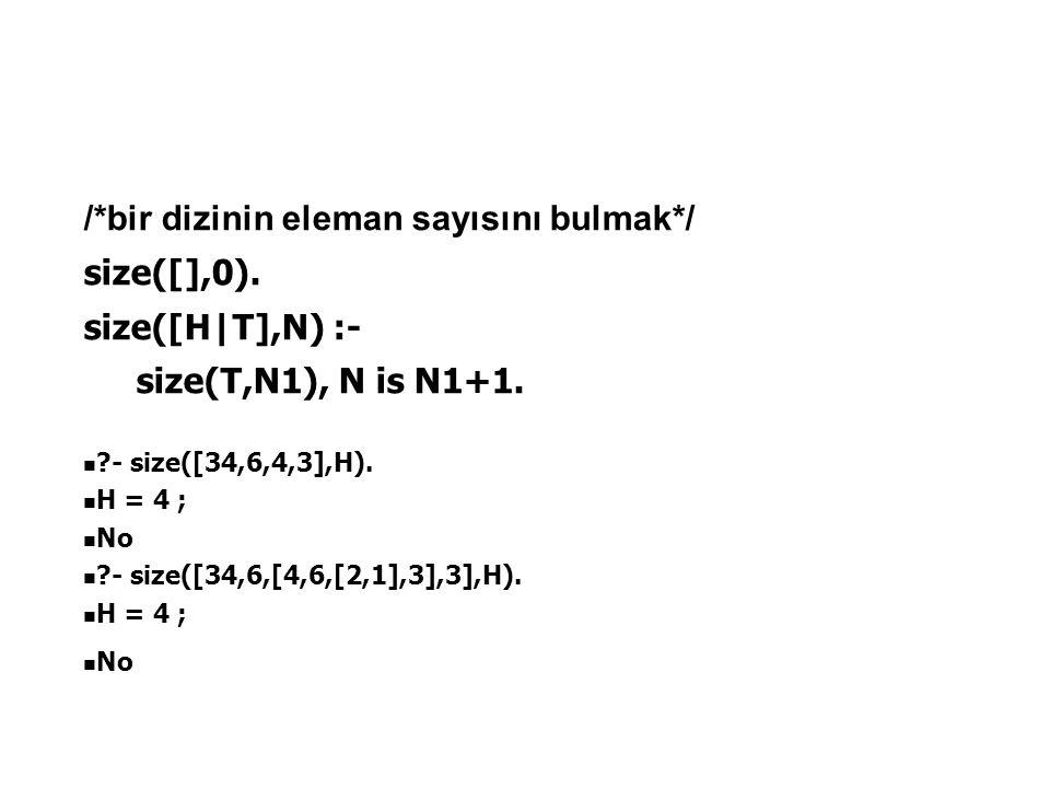 /*bir dizinin eleman sayısını bulmak*/ size([],0). size([H|T],N) :- size(T,N1), N is N1+1. ?- size([34,6,4,3],H). H = 4 ; No ?- size([34,6,[4,6,[2,1],