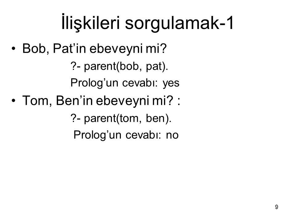40 Özet Prolog programları cümleciklerden oluşur.3 tür cümlecik vardır.