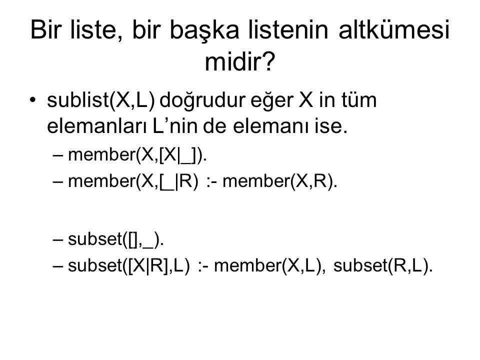 Bir liste, bir başka listenin altkümesi midir? sublist(X,L) doğrudur eğer X in tüm elemanları L'nin de elemanı ise. –member(X,[X|_]). –member(X,[_|R)
