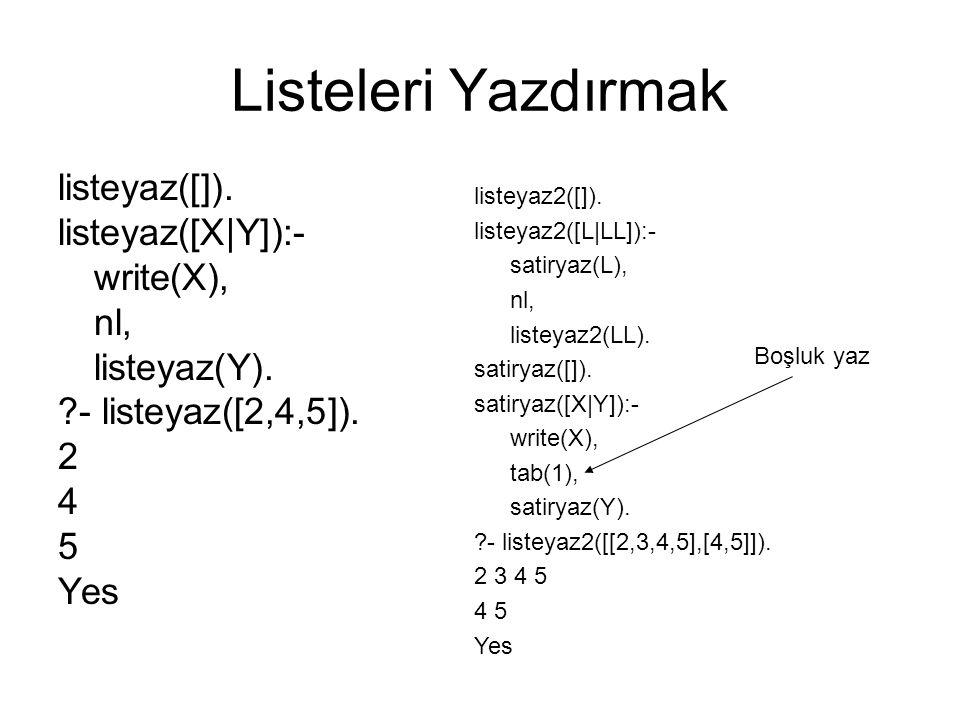 Listeleri Yazdırmak listeyaz([]). listeyaz([X|Y]):- write(X), nl, listeyaz(Y). ?- listeyaz([2,4,5]). 2 4 5 Yes listeyaz2([]). listeyaz2([L|LL]):- sati
