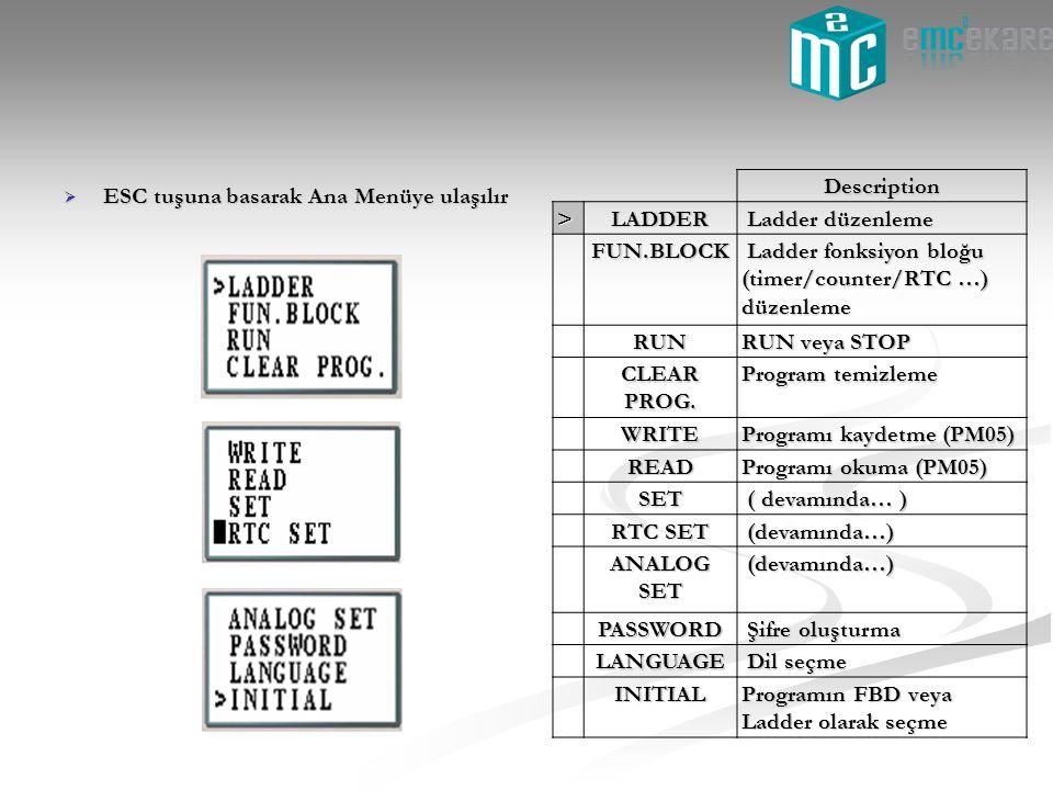  ESC tuşuna basarak Ana Menüye ulaşılır Description>LADDER Ladder düzenleme Ladder düzenleme FUN.BLOCK Ladder fonksiyon bloğu (timer/counter/RTC …) d
