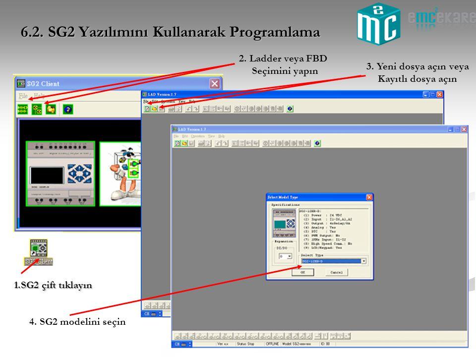 1.SG2 çift tıklayın 3. Yeni dosya açın veya Kayıtlı dosya açın 2. Ladder veya FBD Seçimini yapın 4. SG2 modelini seçin 6.2. SG2 Yazılımını Kullanarak