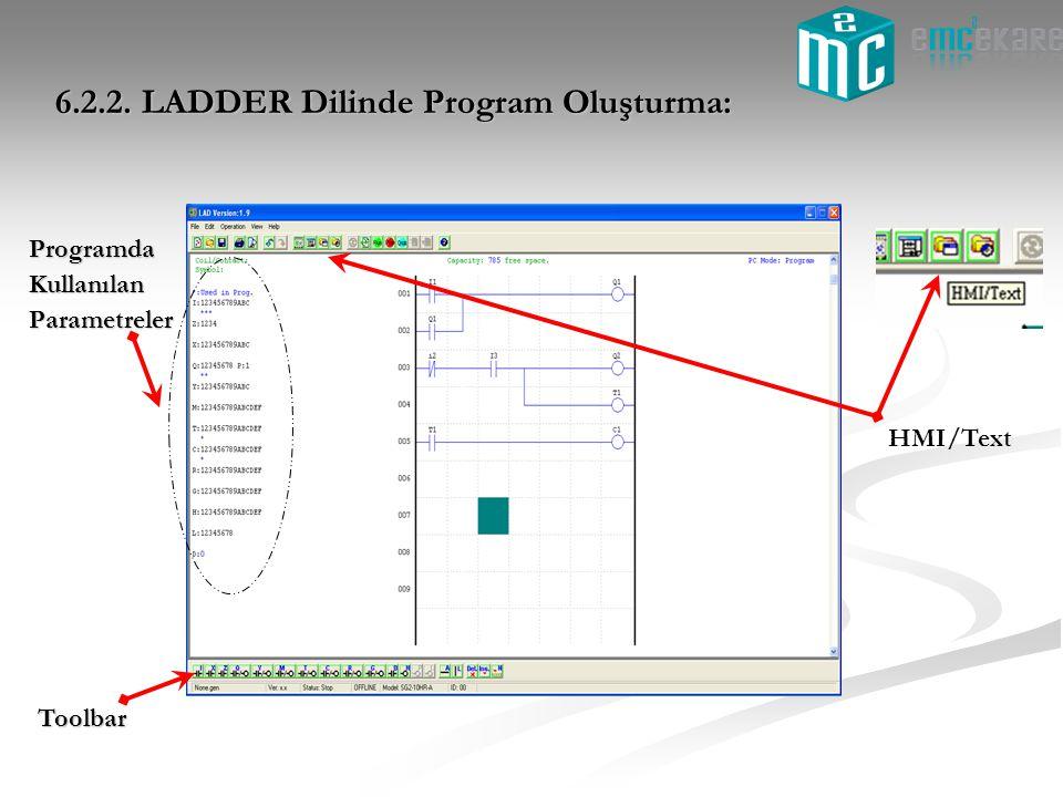 6.2.2. LADDER Dilinde Program Oluşturma: ProgramdaKullanılanParametreler Toolbar HMI/Text