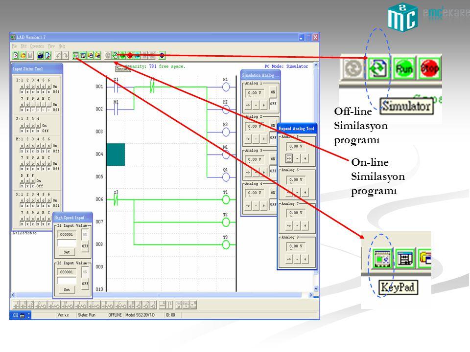 On-line Similasyon programı Off-line Similasyon programı