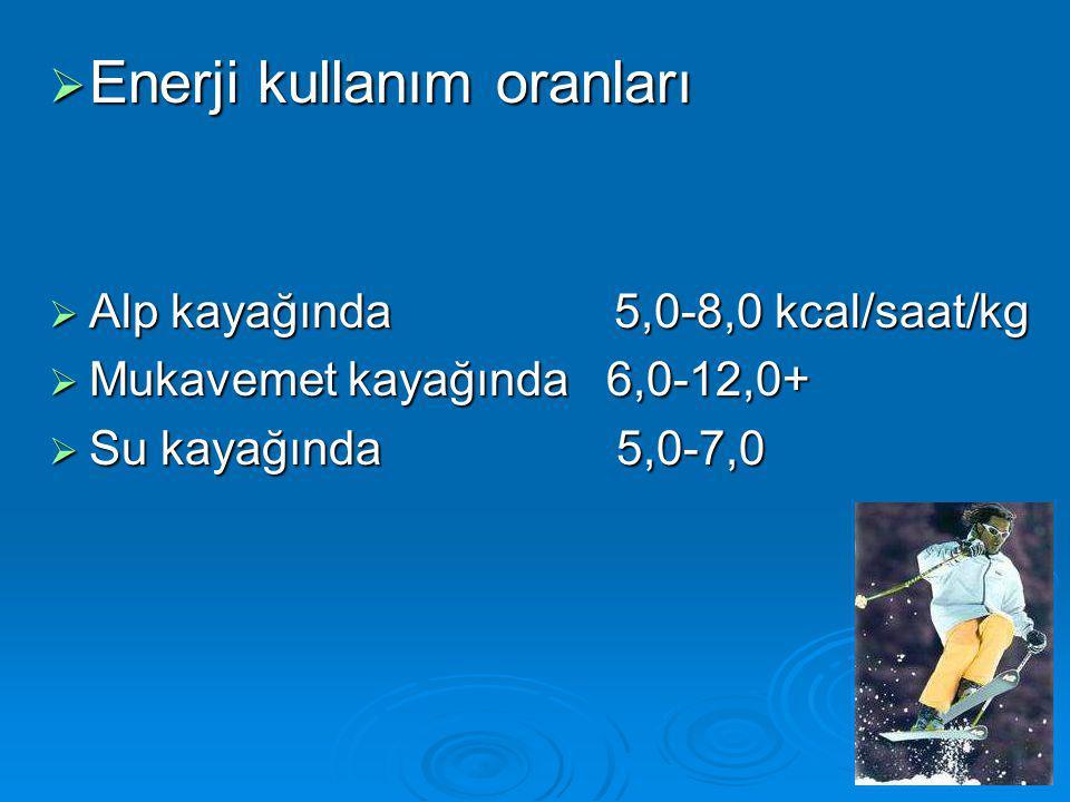  Enerji kullanım oranları  Alp kayağında 5,0-8,0 kcal/saat/kg  Mukavemet kayağında 6,0-12,0+  Su kayağında 5,0-7,0