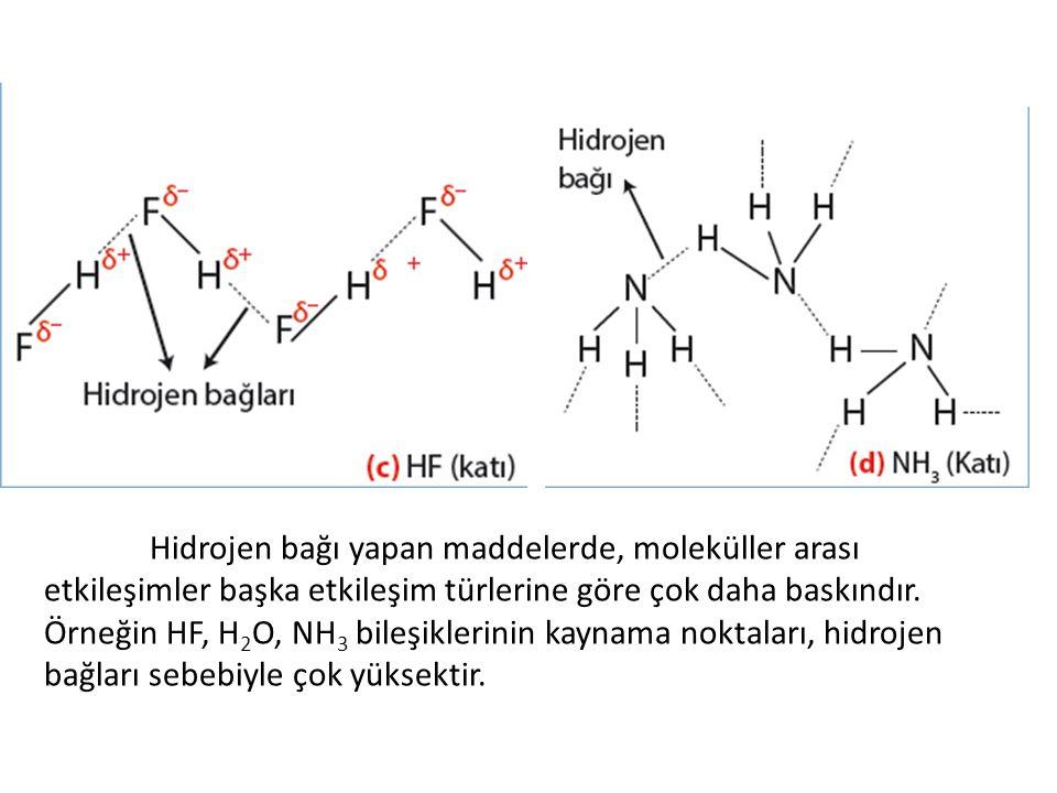 Hidrojen bağı yapan maddelerde, moleküller arası etkileşimler başka etkileşim türlerine göre çok daha baskındır.