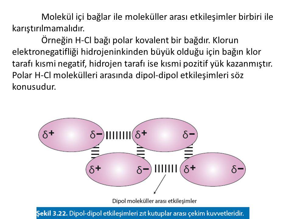 Bir iyon ile polar bir molekül arasında görülen etkileşime iyon- dipol etkileşimi denir.